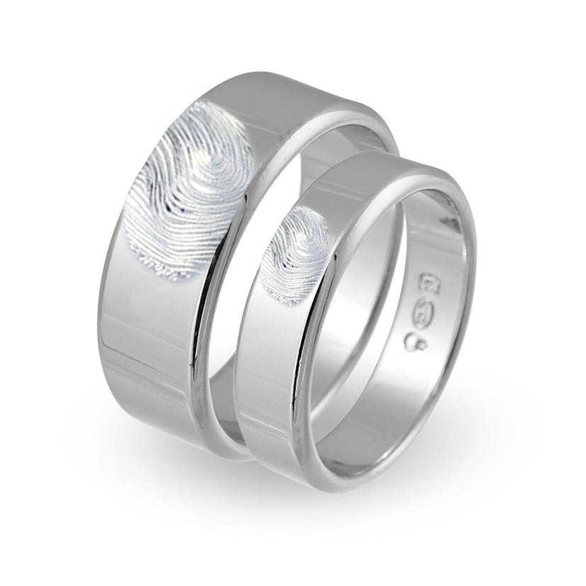 silverring med utvändigt fingeravtryck