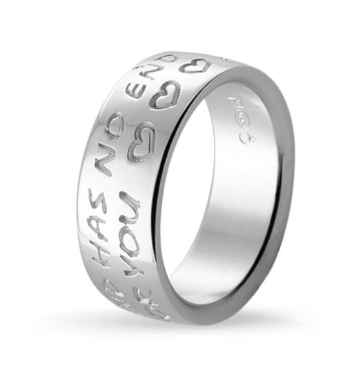 silver message ring