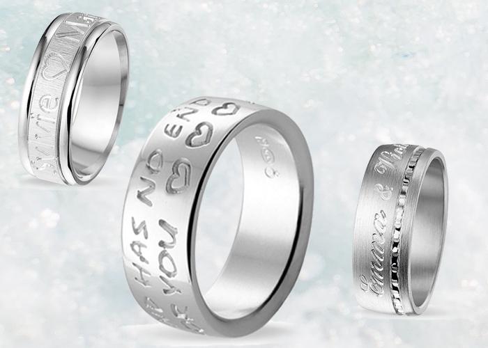 silver message ringar